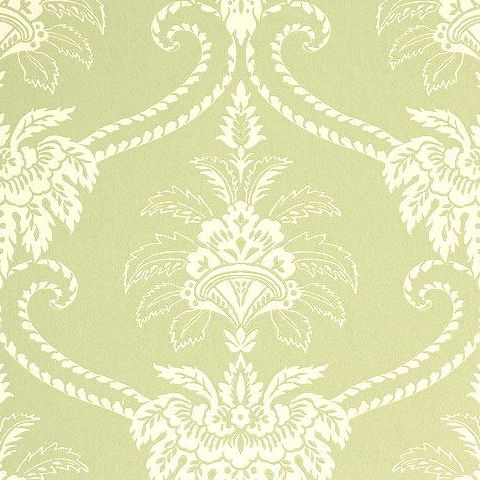 Anna French Wild Flora Damask Wallpaper-Olive/Cream