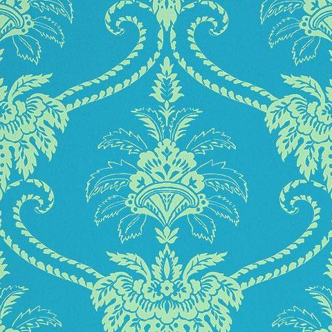 Anna French Wild Flora Damask Wallpaper-Blue/Green