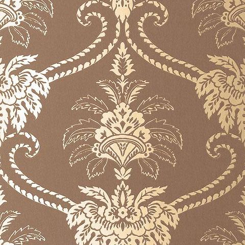 Anna French Wild Flora Damask Wallpaper-Brown/Gilva