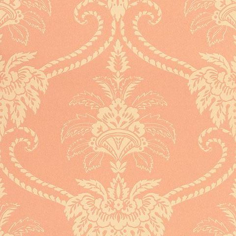 Anna French Wild Flora Damask Wallpaper-Terracotta/Buff