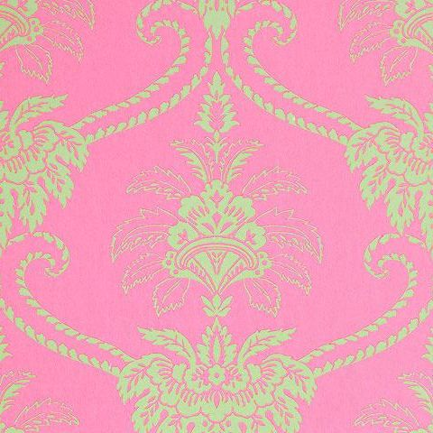 Anna French Wild Flora Damask Wallpaper-Pink/Green