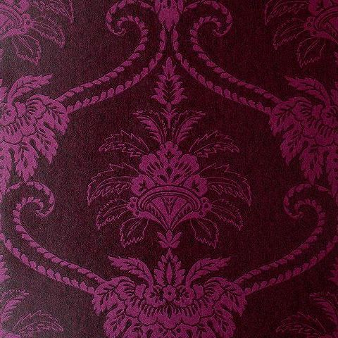 Anna French Wild Flora Damask Wallpaper-Purple/Brown