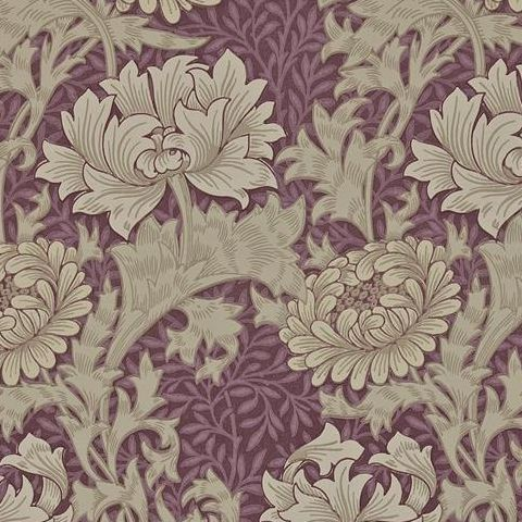 Morris & Co Wallpaper-Chrsyanthemum 212548 Wine