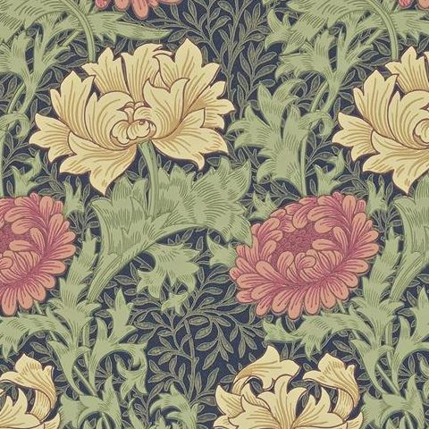 Morris & Co Wallpaper-Chrsyanthemum 212549 Indigo