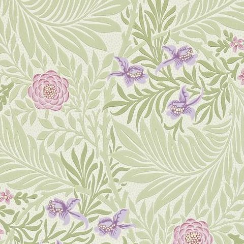 Morris & Co Wallpaper-Larkspur 212555 Olive/Lilac