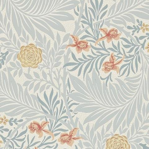 Morris & Co Wallpaper-Larkspur 212556 Slate/Russet
