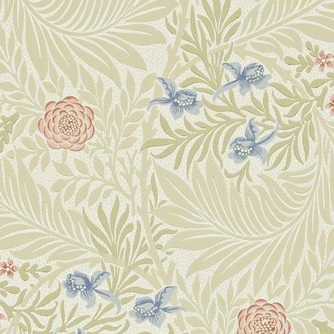 Morris & Co Wallpaper-Larkspur 212557 Manilla/Old Rose