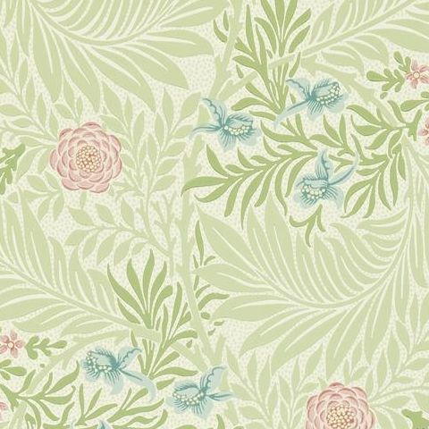 Morris & Co Wallpaper-Larkspur 212558 Green/Coral