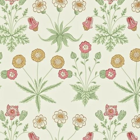 Morris & Co Wallpaper-Daisy 212562 Willow/Pink