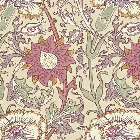 Morris & Co Wallpaper-Pink and Rose 212566 Manilla/Wine