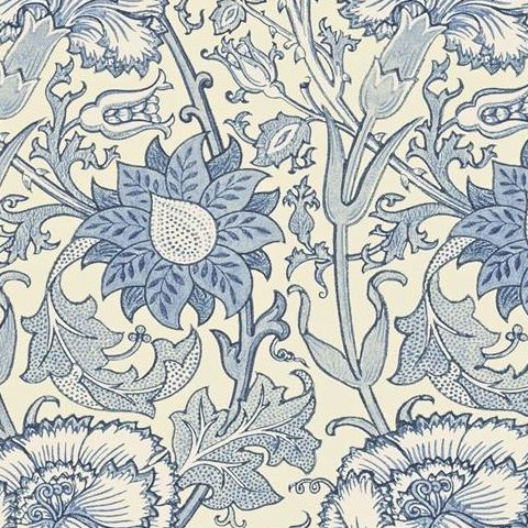 Morris & Co Wallpaper-Pink and Rose 212567 Indigo