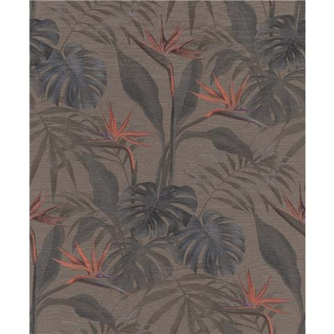 Rasch mandalay Palm wallpaper 529043-1035 chocolate/red