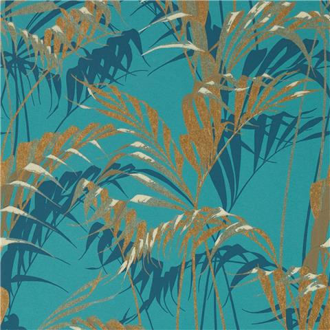 Sanderson Glasshouse Wallpaper Palm House 216640 Teal/Gold