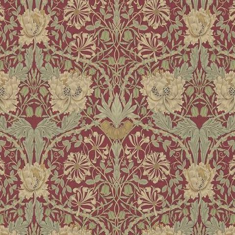 Morris & Co Wallpaper-Honeysuckle and Tulip 214700 Red/Gold