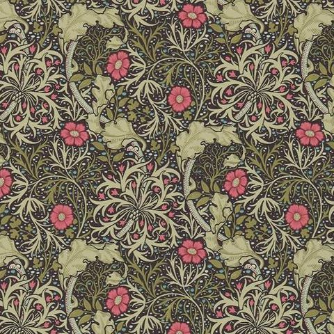 Morris & Co Wallpaper-Seaweed 214716 Ebony/Poppy