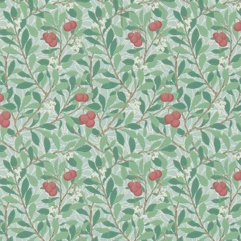 Morris & Co Wallpaper-Arbutus 214719 Thyme/Coral