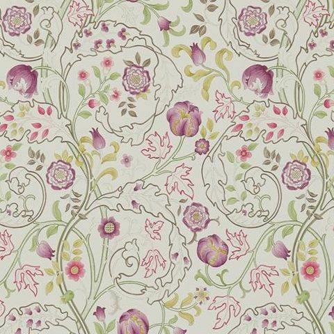 Morris & Co Wallpaper-Mary Isobel 214727 Wine/Linen