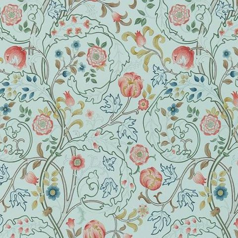Morris & Co Wallpaper-Mary Isobel 214731 Silk Blue/Pink