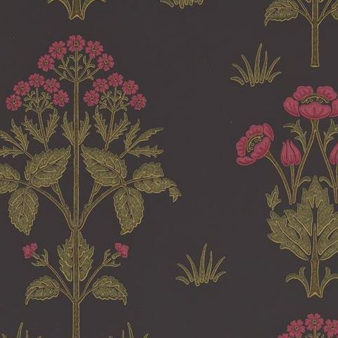 Morris & Co Wallpaper-Meadow Sweet 210352 Charcoal/Rose