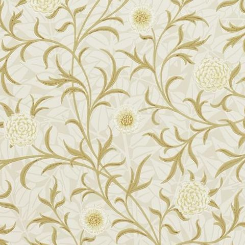 Morris & Co Wallpaper-Scroll 210363 Vellum/Biscuit