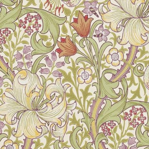 Morris & Co Wallpaper-Golden Lily 210399 Olive/Russet