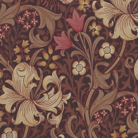 Morris & Co Wallpaper-Golden Lily 210402 Fig/Burnt Orange