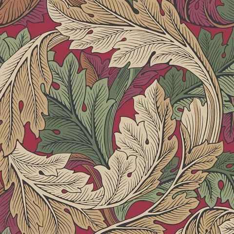 Morris & Co Wallpaper-Acanthus 216439 Madder/Thyme