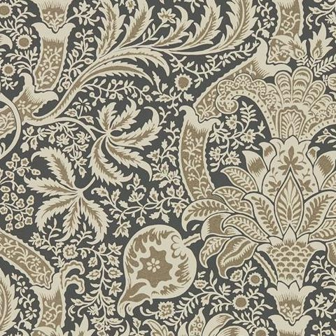 Morris & Co Wallpaper-Indian 216445 Charcoal/Nickel