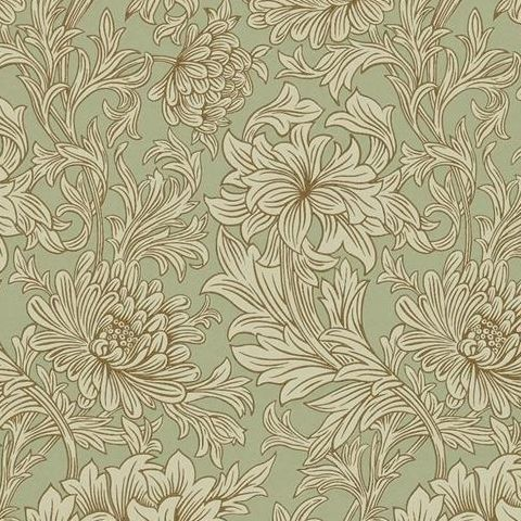 Morris & Co Wallpaper-Chrsyanthemum 216458 Eggshell/Gold