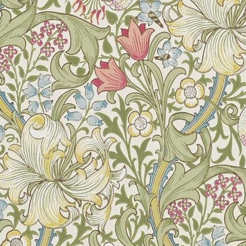 Morris & Co Wallpaper-Golden Lily 216460 Green/Red