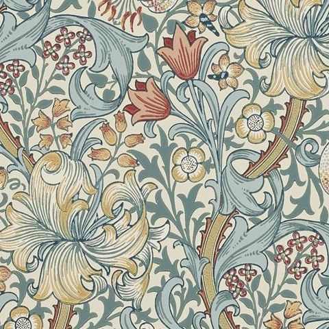 Morris & Co Wallpaper-Golden Lily 216461 Slate/Manilla