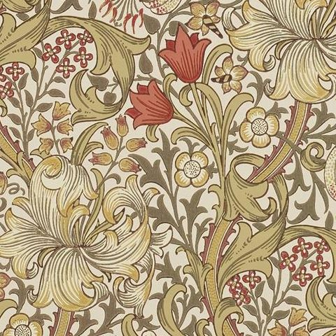 Morris & Co Wallpaper-Golden Lily 216462 Biscuit/Brick