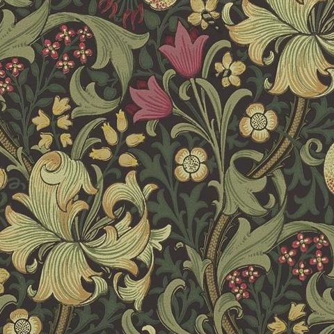 Morris & Co Wallpaper-Golden Lily 216463 Charcoal/Olive