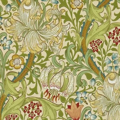 Morris & Co Wallpaper-Golden Lily 216464 Pale Biscuit