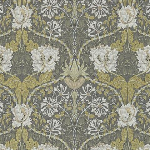 Morris & Co Wallpaper-Honeysuckle and Tulip 216465 Charcaol/Gold