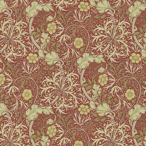 Morris & Co Wallpaper-Seaweed 216469 Red/Gold