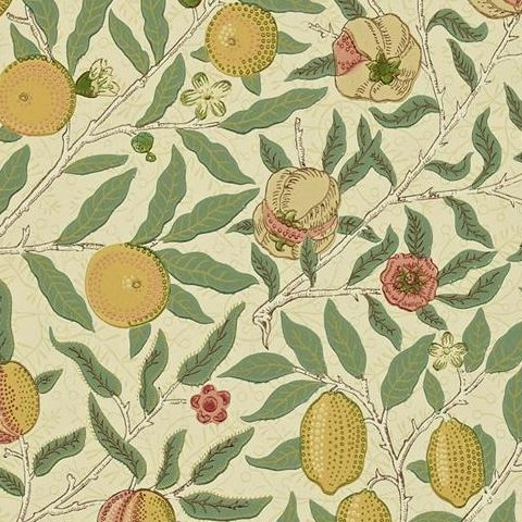 Morris & Co Wallpaper-Fruit 216484 Beige/Coral and Gold