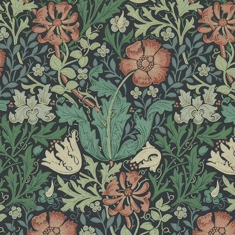 Morris & Co Wallpaper-Compton 210421 Indigo/Russet