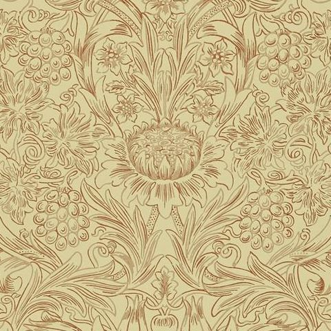 Morris & Co Wallpaper-Sunflower 210473 Church Red/Biscuit