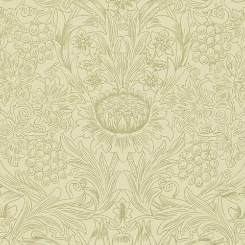 Morris & Co Wallpaper-Sunflower 210475 Parchment/Gold