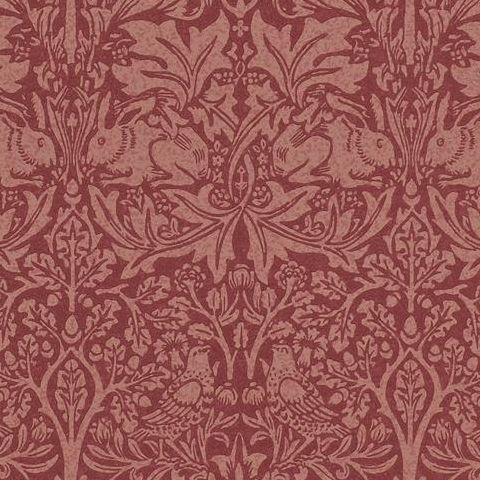 Morris & Co Wallpaper-Brer Rabbit DMORBR101 Church Red