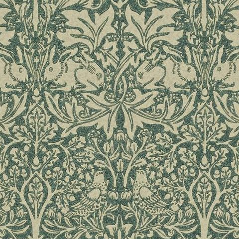 Morris & Co Wallpaper-Brer Rabbit DMORBR102 Forest/Manilla