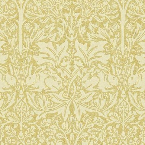 Morris & Co Wallpaper-Brer Rabbit DMORBR104 Manilla/Ivory