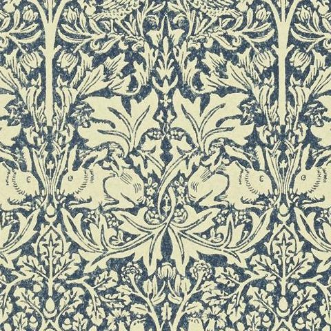 Morris & Co Wallpaper-Brer Rabbit DMORBR105 Indigo/Vellum