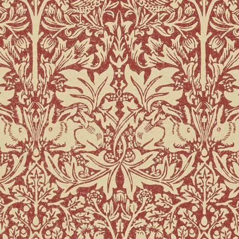 Morris & Co Wallpaper-Brer Rabbit DMORBR106 Church Red/Biscuit