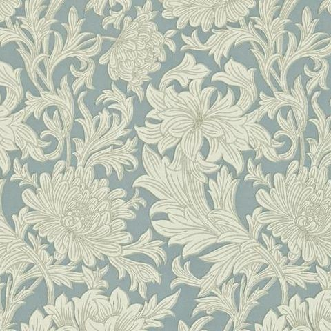 Morris & Co Wallpaper-Chrsyanthemum DMOWCH101 China Blue/Cream