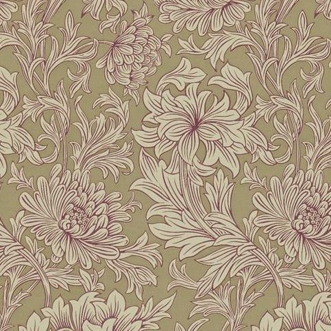 Morris & Co Wallpaper-Chrsyanthemum DMOWCH102 Grape/Bronze