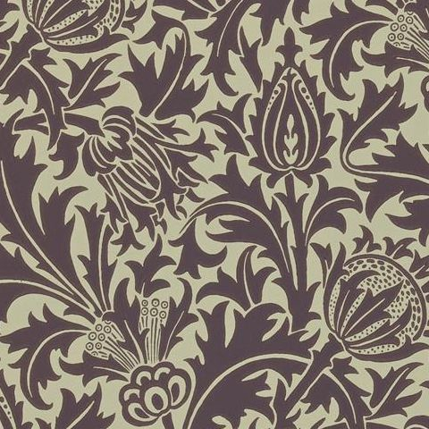 Morris & Co Wallpaper-Thistle DMOWTH101 Mulberry/Linen