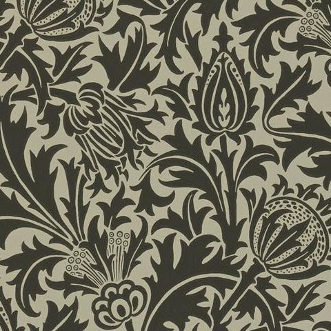 Morris & Co Wallpaper-Thistle DMOWTH103 Black/Linen