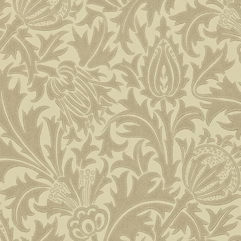 Morris & Co Wallpaper-Thistle DMOWTH104 Dove/Gold